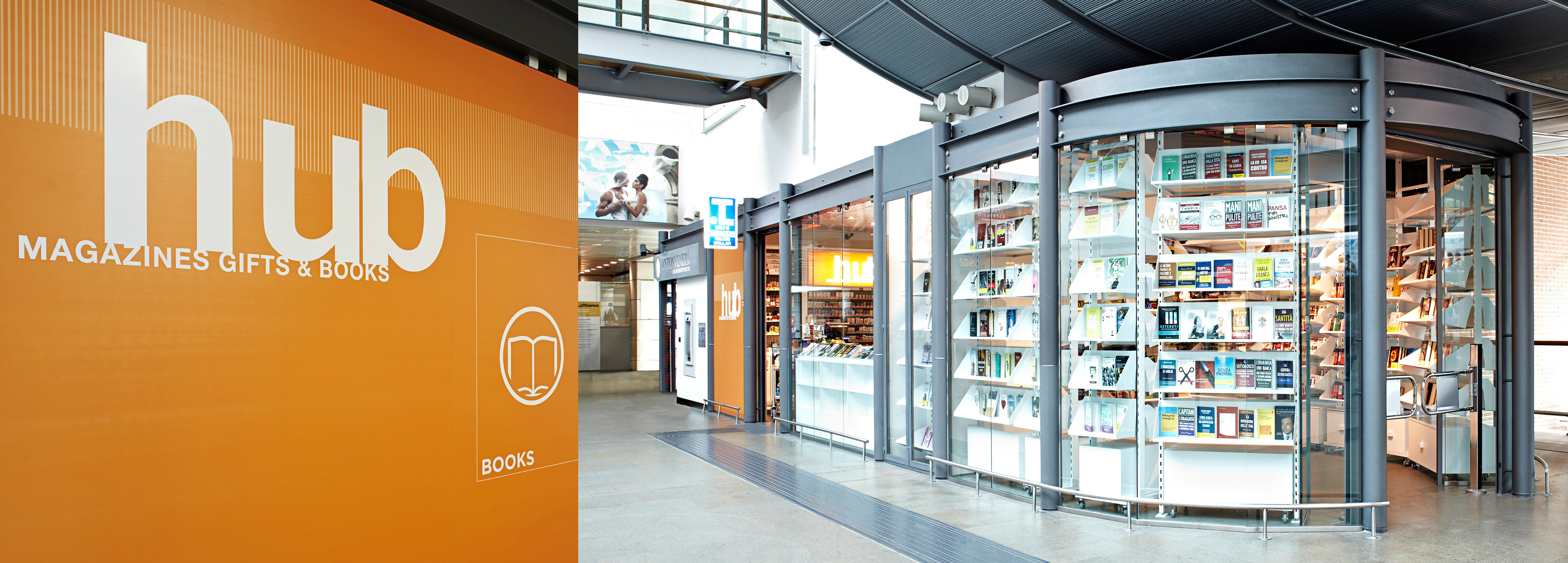 A contemporary look conceived of Hangar Design Group for the Hub shops within the Venice Marco Polo Airport.