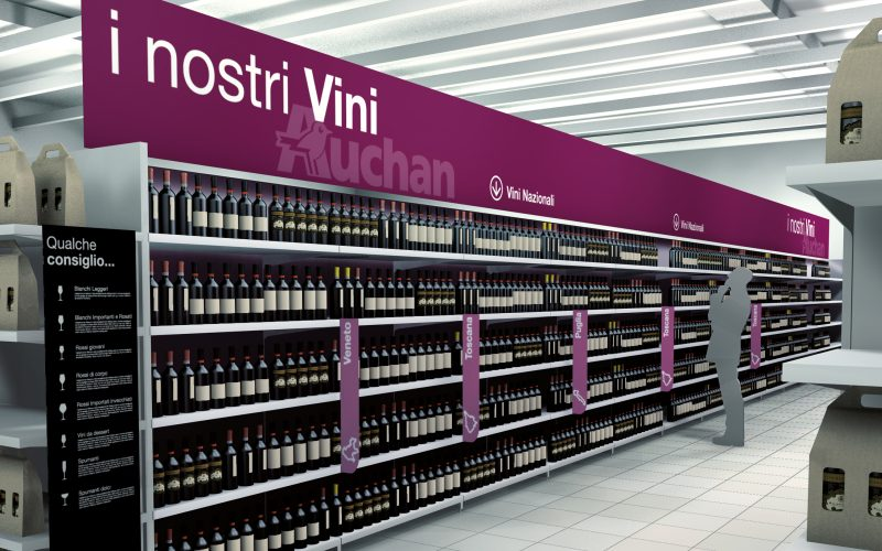 Hangar Design Group designed the visual identity project dedicated to the wine department within the hypermarkets of the Auchan.