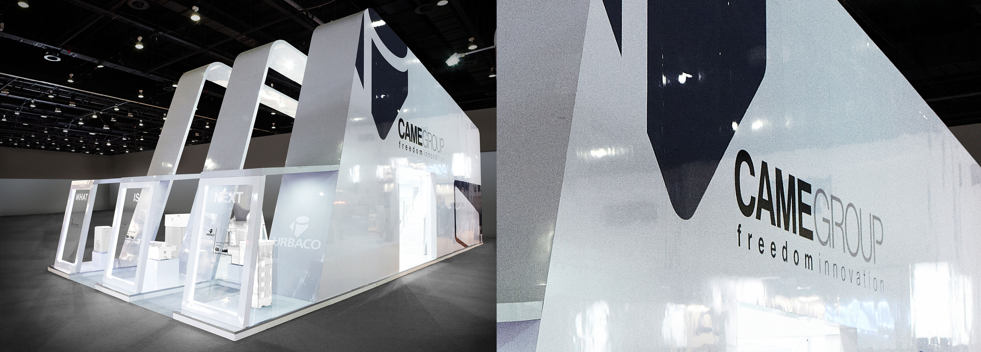 An aerodynamic booth signed by Hangar Design Group for Came, the Italian company leader in the automation systems industry.
