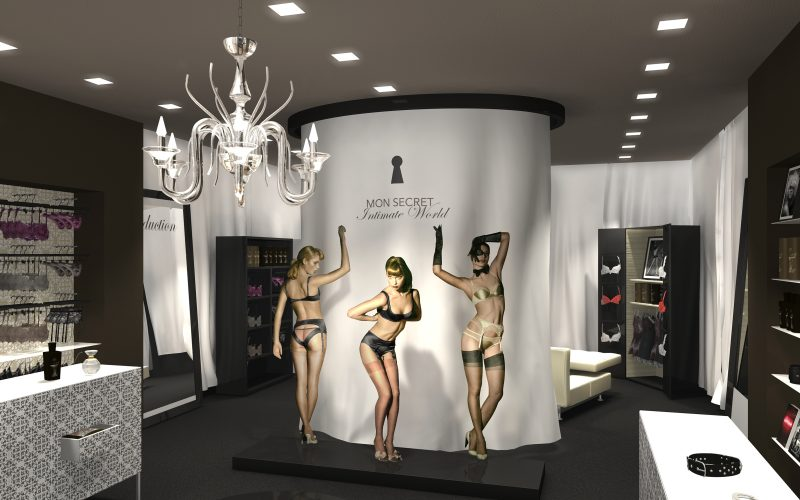 An innovative fashion space created of Hangar Design Group which goes beyond the concept of lingerie and seduction for Coin