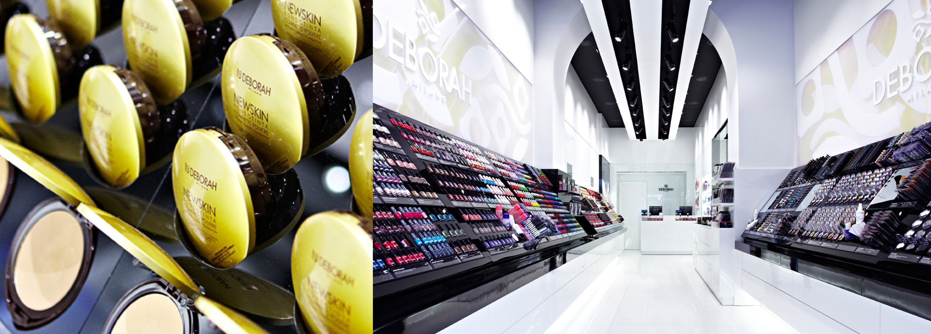 Retail design signed by Hangar Design group for the flagship store of the beauty brand Deborah Milano.