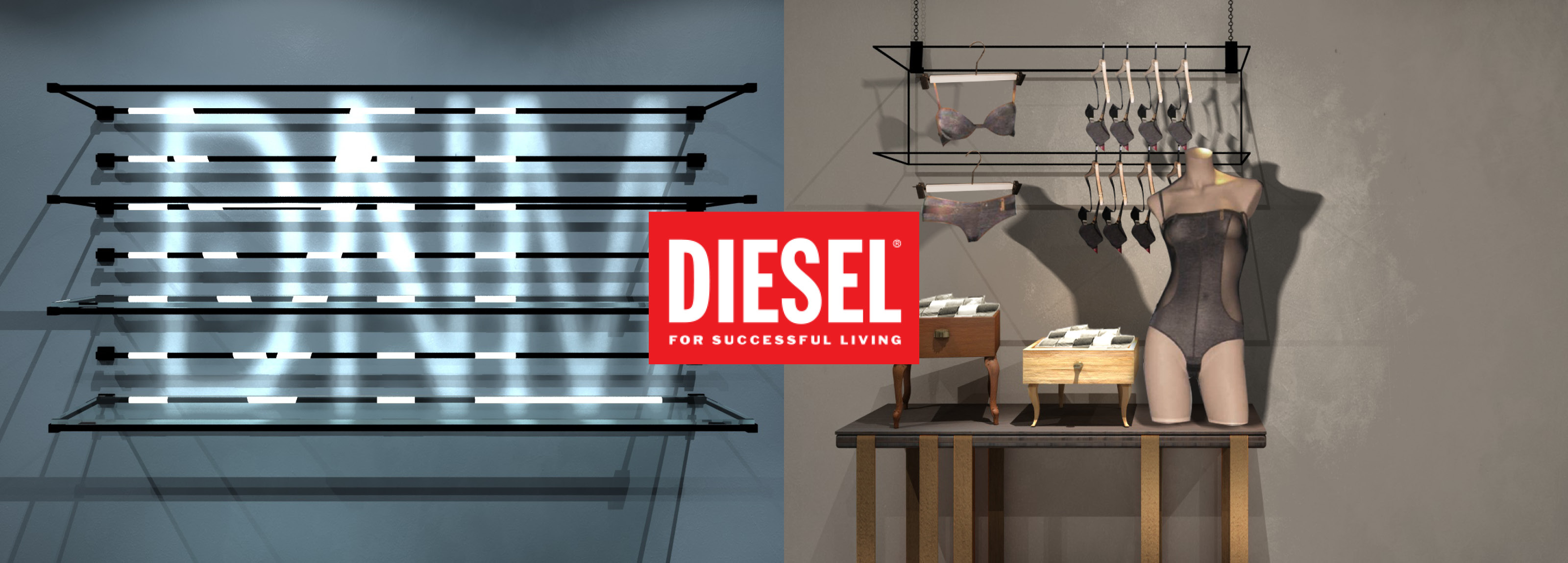 Retail project developed of Hangar Design Group for Diesel on the theme of underwear.