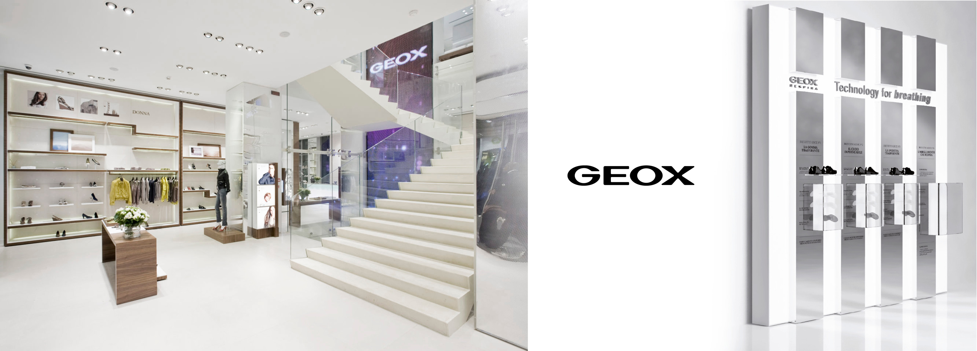 Merchandising e visual design realizzati da Hangar Design Group per i negozi monomarca Geox