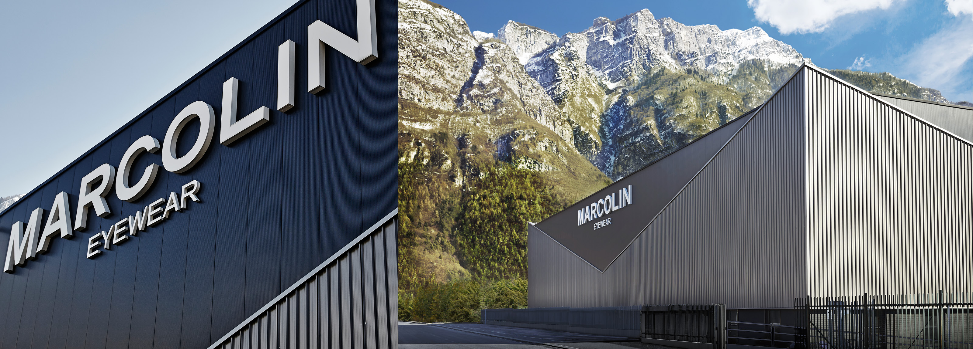 Architectural project of Hangar Design Group for the facade and the external of the Marcolin headquarter, based in Longarone.