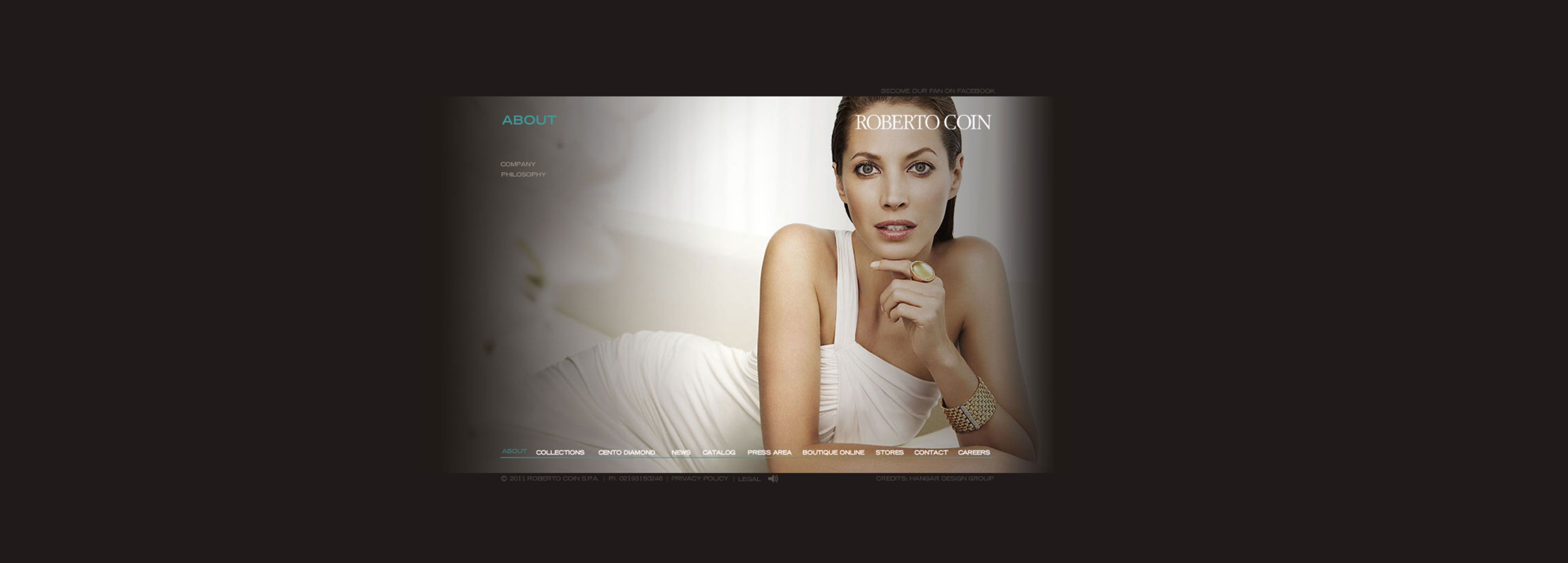 A new website design by Hangar Design Group for high-end jewellery brand.