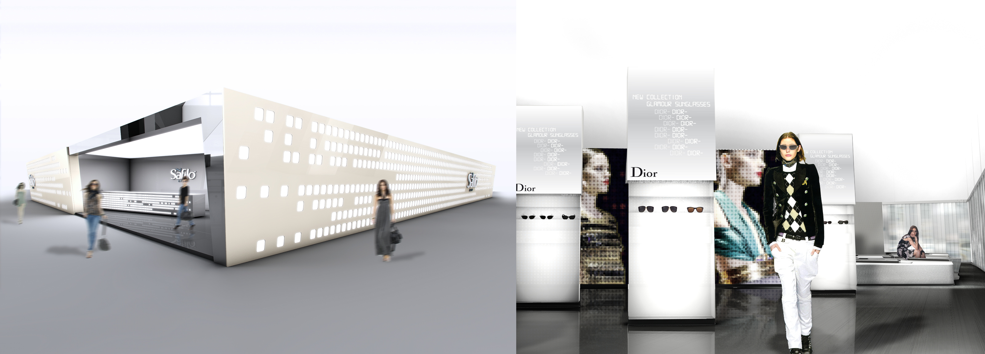 Minimalism and lightness for the booth designed of Hangar Design Group for Safilo.