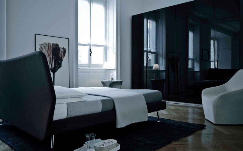 The bedroom of the Milan apartment decorated by Hangar Design Group