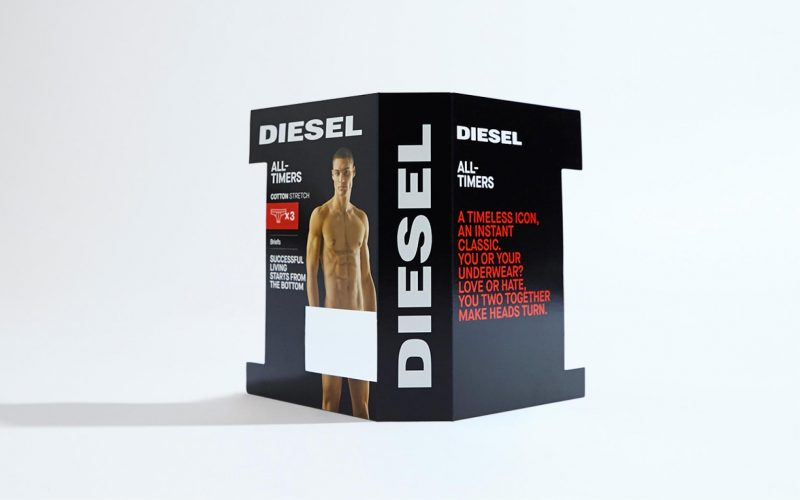 The packaging designed by Hangar Design Group for Diesel Underwear in its black edition
