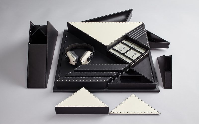 Tangram is a stationary set designed for Bertoni 1949 of Hangar Design Group