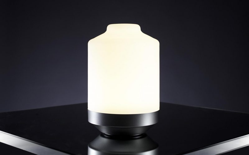 The Giara table lamp switched on